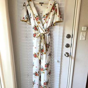 Faux Wrap Floral Dress with Tie Belt